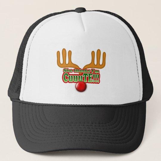 She Thinks I'm Cute Design Trucker Hat