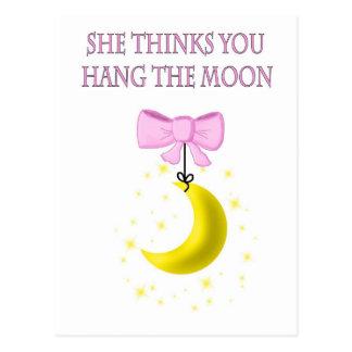 She Thinks You Hang The Moon Postcard