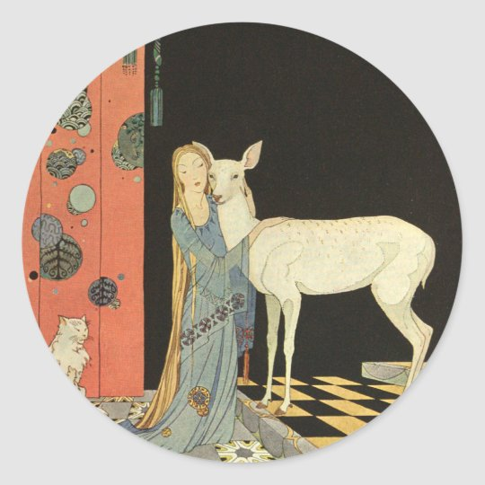 She threw her arms around the neck of Bonnie-Biche Classic Round Sticker
