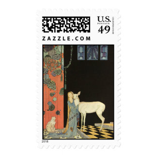 She threw her arms around the neck of Bonnie-Biche Postage Stamps
