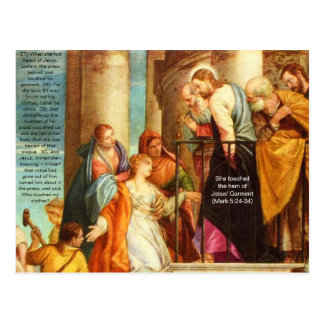 She touched the hem of Jesus' Garment Postcard