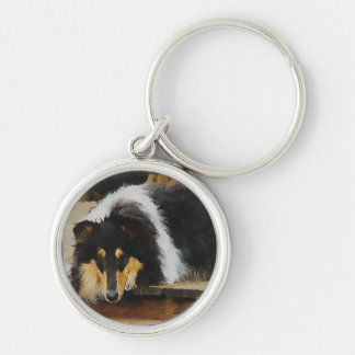 She Waits Tri Color Collie Silver-Colored Round Keychain
