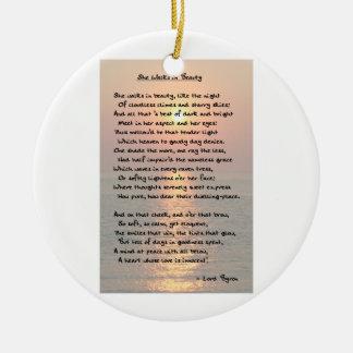 """""""She Walks In Beauty"""" Byron Ornament Ornaments"""