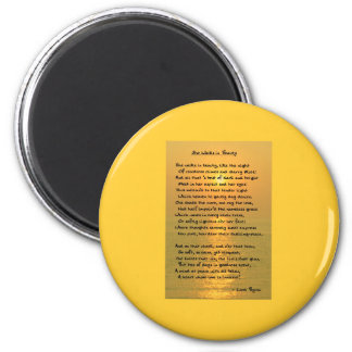 She Walks In Beauty/Cape May Sunset Round Magnet Refrigerator Magnets