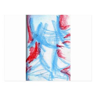 She Walks in Red Blue Postcard