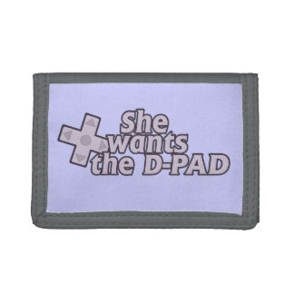 She wants the D pad gamer girl Tri-fold Wallets