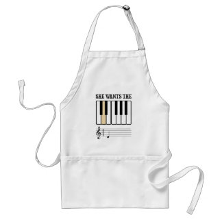 She Wants the D Piano Music Adult Apron