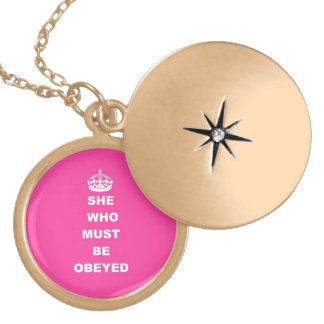 She who must be obeyed gold plated necklace