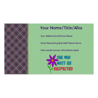 She Who Must Be Respected Business Card Template