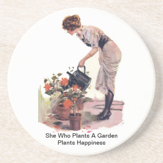 She Who Plants A Garden Plants Happiness Sandstone Coaster