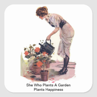 She Who Plants A Garden Plants Happiness Square Sticker