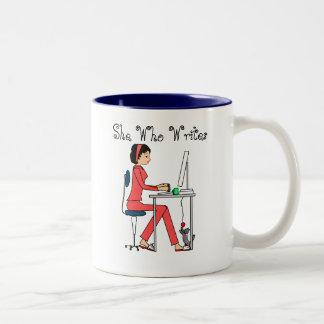 She Who Writes mug/red+brunette
