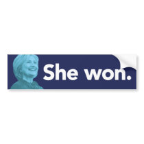 She Won Bumper Sticker