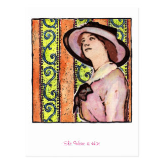 She Wore a Hat Postcard