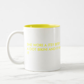 SHE WORE A ITSY BITSY TEENY WEENY YELLOW POKO A... Two-Tone COFFEE MUG