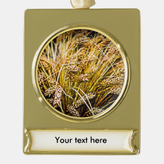 Sheaf Of Wheat - Thank You Gold Plated Banner Ornament