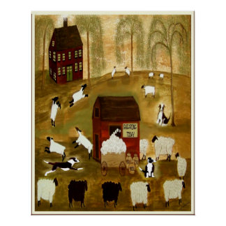 SHEARING DAY with BORDER COLLIES 24 X 30 +OtherSiz Poster