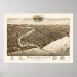 Sheboygan, mapa panorámico de los WI - 1885 Póster