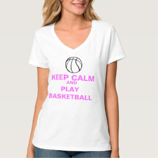 sheCANball Keep Calm and Play Basketball VNeck T-Shirt