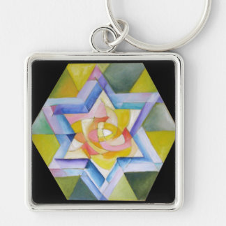 Shechinah Silver-Colored Square Keychain