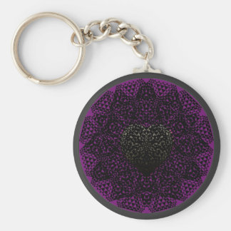 SHECKSHE.COM SheckShe* Heart Black and Purple Basic Round Button Keychain