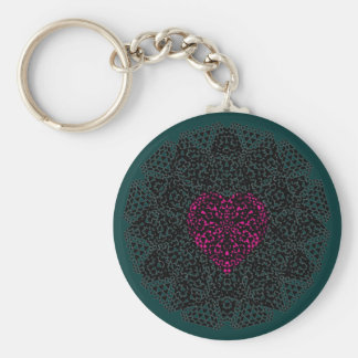 SHECKSHE.COM SheckShe* Heart Red on Black n Green Basic Round Button Keychain