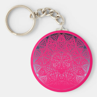 SHECKSHE.COM SheckShe* Heart Shiny Blue n Hot Pink Basic Round Button Keychain