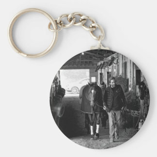 Shed Row at Belmont Park Keychain