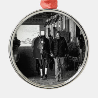 Shed Row at Belmont Park Metal Ornament