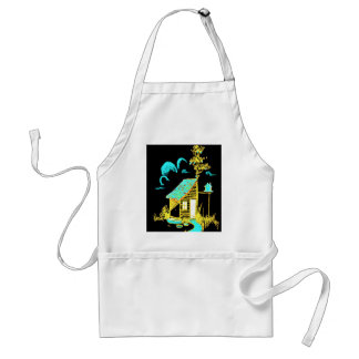 shed, tree, birdhouse, flowers adult apron