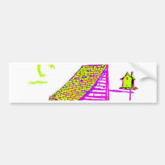 shed, tree, birdhouse, flowers car bumper sticker