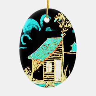 shed, tree, birdhouse, flowers ceramic ornament