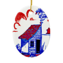 shed, tree, birdhouse,flowers ceramic ornament