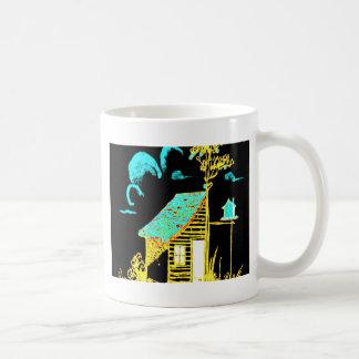 shed, tree, birdhouse, flowers coffee mug