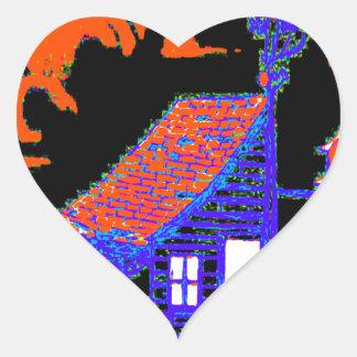 shed, tree, birdhouse, flowers heart sticker