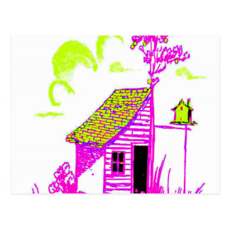 shed, tree, birdhouse, flowers postcard