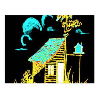 shed, tree, birdhouse, flowers postcard