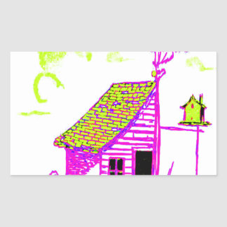 shed, tree, birdhouse, flowers rectangular sticker