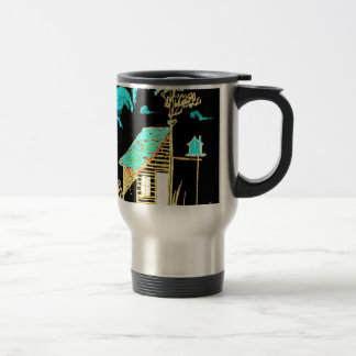 shed, tree, birdhouse, flowers travel mug