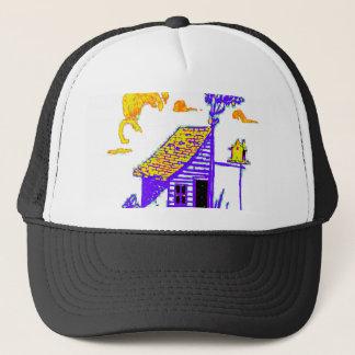 shed, tree, birdhouse, flowers trucker hat