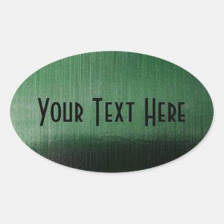 Sheen metálico verde calcomania de óval personalizadas