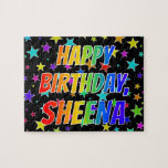"[ Thumbnail: ""Sheena"" First Name, Fun ""Happy Birthday"" Jigsaw Puzzle ]"