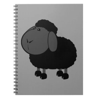 sheep-312776 ,BLACK SHEEP OF THE FAMILY, CARTOON C Spiral Notebooks