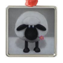 Sheep - A Flower For Ewe Metal Ornament