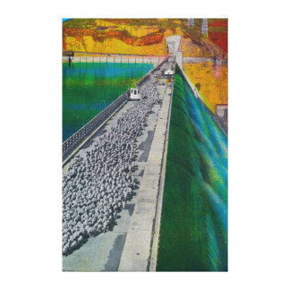 Sheep across Grand Coulee Dam Gallery Wrap Canvas