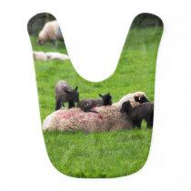 Sheep and baby lambs family baby bib