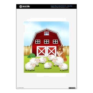 Sheep and barn decal for iPad 3