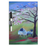Sheep and Cherry Tree Dry-Erase Board
