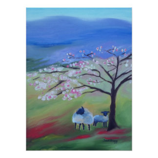 Sheep and Cherry Tree Poster