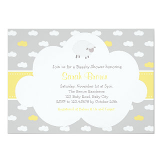 Sheep and Cloud Invitation (Gray Yellow)